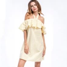 -Yellow Halter Strap Backless Beach Casual Dress Plaid Sexy Off Shoulder Dress Summer Women Party Mini Straight Dress on JD