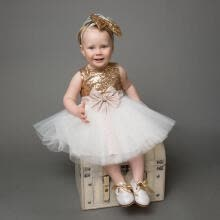 -Princess Baby Girls Sequins Bow Party Dress Wedding Bridesmaid Dresses UK Stock on JD