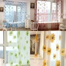8750202-Pastoral Floral Scarf Sheer Voile Door Window Curtain Drape Panel Tulle Valances on JD
