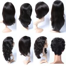 -100% Human Hair Braids Lace Wigs,Natural Black Brazilian Virgin Hair Wig FT-12 Series Lace Front Wigs For Black Women on JD