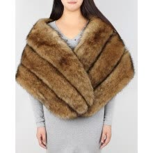 875062531-Fashion Brown Faux Fur Shawl Women Formal Cheongsam Wedding Dress Scarf Soft Fox Lady Winter Warm Bride Cape on JD
