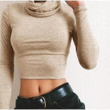 -UK WOMENS TURTLE NECK CROP LADIES LONG SLEEVE PLAIN POLO SHORT STRETCH TOP on JD