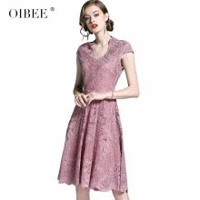 celebrity-inspired-dresses-OIBEE2018 summer new ladies wind dress summer V-neck large swing long lace dress skirt on JD
