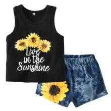 boy-sportswear-Toddler Baby Girl Sunflower T-shirt Vest Top+Denim Shorts Pants Summer Clothes on JD