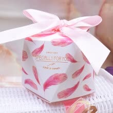 -Tropical Forest Western Wedding Candy Box Carton Candy Box Wedding Wedding Supplies Wedding Candy Bag Diamonds 50 Pack Pink Feathers on JD
