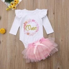 cocktail-dresses-Малыш Baby Girl 1-й день рождения Romper Tops Party Dress Outwears Tutu Skirt Set on JD