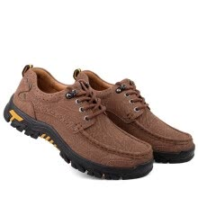 -Outdoor casual shoes leather breathable leather sports running shoes hiking shoes on JD