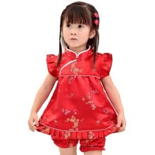 clothing-sets-Buenos Ninos Girls Short Sleeve Cheongsam Baby Qipao Patterned Cloth Set on JD