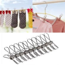 beauty-gifts-20 PC Stainless Steel Clothes Pegs Hanging Clips Pins Laundry Windproof Clamp on JD