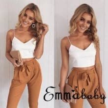 vests-Women 2 Piece Outfits Sleeveless V neck Crop Top Long Pants Set Casual Jumpsuit on JD