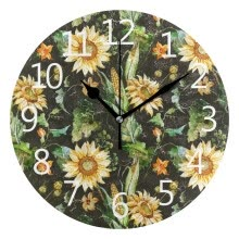 -Wall Clock Arabic Numerals Design Sunflower Pattern Round on JD