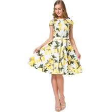 -Summer Dress Women Fashion Lemon Floral Print Casual Pin up Vintage Dresses 50s 60s Rockabilly Party Dresses on JD