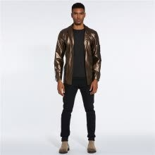 -Solid Color Lapel Collar Long Sleeve Men's PU Jacket on JD
