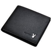 -Playboy playboy wallet men short section first layer cowhide cross money wallet fashion multi-card bit business casual ticket holder PAA5983-6B black on JD