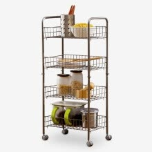 other-furniture-Ou Runzhe shelf stainless steel upgrade version can be moved 4 store storage storage vehicles on JD
