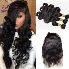 -360 lace frontal with bundle brazilian virgin hair body wave with closure lace frontal closure with bundles 4 bundle on JD