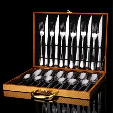-Sunny song Western food tableware stainless steel steak knife and fork spoon luxury gift box 24 sets of gold 0928 on JD