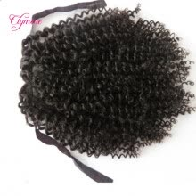 -Clymene Hair Kinky Curly Virgin Human Hair Ponytail 4x4 Size Brazilian Hair Extensions For African Americans on JD