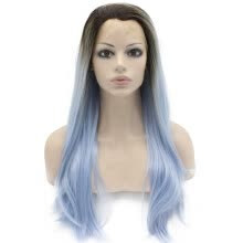 -Iwona Synthetic Hair Lace Front Long Stright Ombre Dark Root Light Blue Two Tone Wig on JD