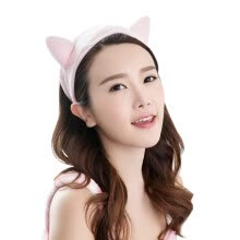 -Sanli Super soft cat ears hair band cute headdress headdress headband 9 × 23cm face wash makeup mask hair gray + black on JD