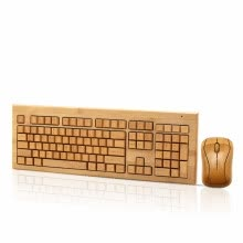 -Handmade bamboo wireless keyboard and mouse mini mouse button suit high-end comfort green computer peripherals on JD