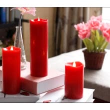 candles-holders-Candle,Simplux Free-Flowing 3D Fireless flame Real Wax LED Melted Round Edge Candles light With Timer Battery-Operated Red 7.6X12. on JD