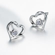 -Yinman S925 silver heart-shaped earrings girls day Valentine's Day gifts to send his girlfriend simple silver earrings catch the dream to send his girlfriend Valentine's Day birthday gift on JD