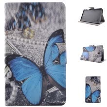 -Blue Butterfly Style Classic Flip Cover with Stand Function and Credit Card Slot for Samsung Galaxy Tab 4 T230 on JD