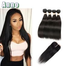 -7a Brazilian Virgin Hair 4 Bundles With Closure Natural Straight Weave With Closure Queen Love Hair Bundles And Closures Fashion on JD