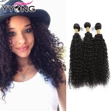 -YYONG Hair Company Brazilian Curly 3 Pcs Virgin Hair Cheap Brazilian Kinky Curly Human Hair Weave Natural Color Human Hair on JD