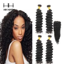-HHHair Cambodian Virgin Hair With Closure Cambodian Deep Wave 4 Bundles With 1pc 4x4 inch Lace Closure Human Hair Weave on JD