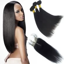 virgin-hair-Indian Virgin Hair Straight with Closure 3 Bundles Indian Virgin Hair with Closure Free Part Can be Part Anywhere 8a Grade on JD