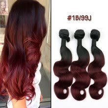 -Natural Dark Black Root Two Tone Black/Red Ombre Body Wave 3pcs Weave Bundles Brazilian Human Virgin Remy Hair Weft Extension 99 on JD