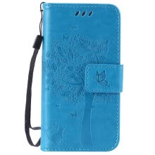 -Blue Tree Design PU Leather Flip Cover Wallet Card Holder Case for IPHONE 5 on JD