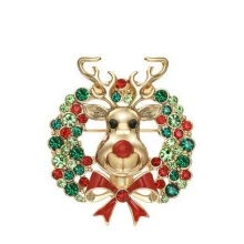 fine-jewelry-Yoursfs@ Clear Rhinestone Pretty Brooch Gold Color Vivid Jumping Christmas Deer Pins Amazing Alloy Colorful Christmas Brooch on JD