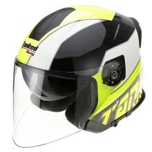 -Tanked Racing Motorcycle Helmet Electric Battery Helmet Double Lens T597 Four Seasons Universal L Code Fluorescent Yellow Disco on JD