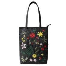 -Flowers princess spring flowers embroidery art Todt shoulder oxen spinning canvas nylon handbags 1703DM007 black on JD