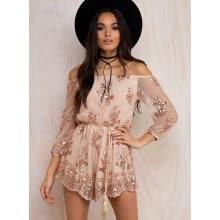 -European and American hot style strap-shouldered sparkly long sleeve jumpsuit shorts on JD