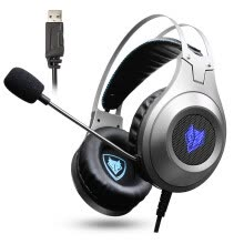 -NUBWO N2 computer headset music game headset K song bass USB with microphone voice silver on JD