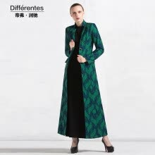 875061821-DF · RS  2017 Autumn and winter new long coat coat female green Slim long-sleeved collar jacquard on JD