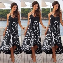-CANIS@Women Summer Boho Chiffon Party Evening Beach Dresses Long Maxi Dress Sundress S on JD