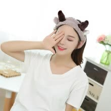 -Sanli super soft elk antlers ears hair band selling cute cute headdress headdress headband wash makeup makeup mask hair gray on JD