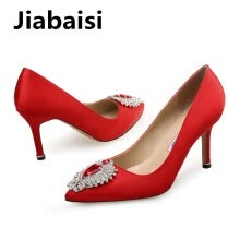 875061444-Jiabaisi Shoes Heart Diamonds Silk Satin Cat heel shoes Pointed toe Round stilettlo Party wedding Womens Cat heel Pumps on JD