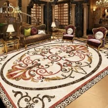 -Free shipping custom 3d floor mural  definition marble parquet floor painting skidding thickened living room wallpaper 250cmx200cm on JD