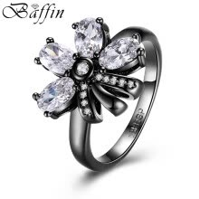 -2017 New Retro Vintage Black Gun Plated Flower Rings Statement Jewelry Made With Cubic Zirconia Diamond Ring For Women on JD