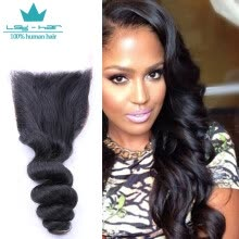 -8A High Quality 1 Pcs 4*4 Swiss Lace Closure Loose Wave Hair Indian Virgin Human Hair Extensions on JD