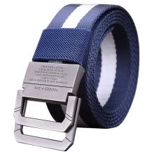 -Half cigarette canvas belt men's belt smooth buckle youth Korean version of the belt buckle buckle casual outdoor students B-170536 blue and white 115 on JD