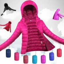 -Plus Size S-3XL Ultra Light Winter Jacket 2017 Fashion Women Duck Down Coat Solid Color Hooded Zippers on JD