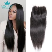 -8A Indian Remy Hair Straight Closure 4X4 Lace Closure with Baby Hair Middle Part Natural Color Human Hair on JD