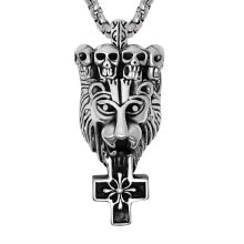 -Personality Mens Skulls Lion Head Pendant Necklace Boys Wild Beauty Titanium Stainless Crossing Flower Jewelry Gothic Chain Biker on JD